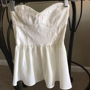 H&M cream colored strapless top. EUC